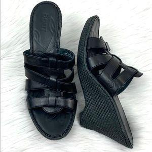 Born Black Leather Wedge Sandal